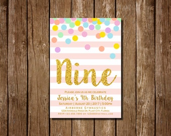 Girl 9th Birthday Invitation, Pink and Gold Ninth Birthday Invitation, 9th Birthday , Pink Invitation, Gold Invitation, Rainbow