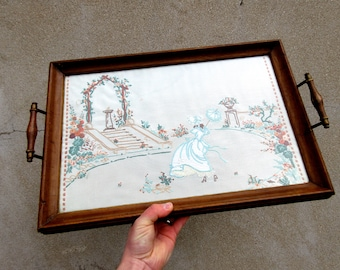 Vintage Brass & Wood Embroidered Drink Serving Tray with Handles - Country Garden Scene