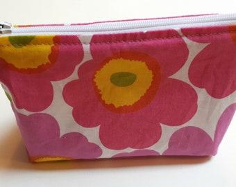 Marimekko Pouch, Handmade Pink Poppy Cosmetic Bag, Unikko, Mother's Day Gift