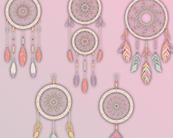 Dream Catcher Clip Art | Commercial Use | Pastel Dream Catcher Clip Art Vector Graphics| Digital Clip Art