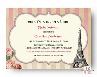 Baby Girl Paris Baby Shower Invites // Paris Baby Shower Invitation // Boy Baby Shower Invitation // Baby Boy Parisian Baby Shower Invite