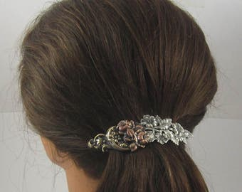 Floral Bouquet French Barrette 80mm- Flower Barrette- French Clips- Gift for Gardeners