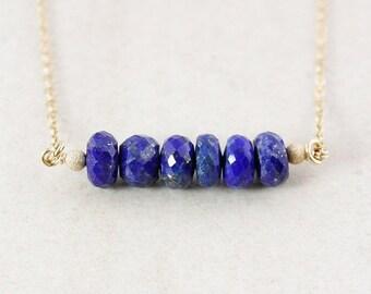 Blue Lapis Gemstone Necklace – 14K Gold Filled or 925 Sterling Silver