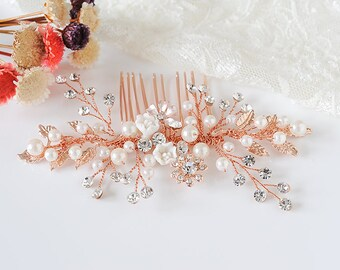 Rose Gold Bridal Hair Comb, Boho Leaf Hair Pin, Pearl Cluster Bridal Hair Comb, Crystal Flower Hair Accessories,Wedding Hair Jewelry, BONITA
