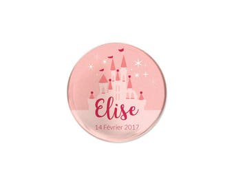 Badge invited christening or birthday Princess Castle