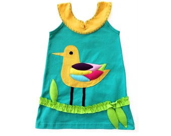 Girl's Dress, BIRD Dress, Seagull, Applique Dress, Bird Clothing, Handmade Clothing, Applique, Aqua Dress, Animal Clothing, Beach Dress