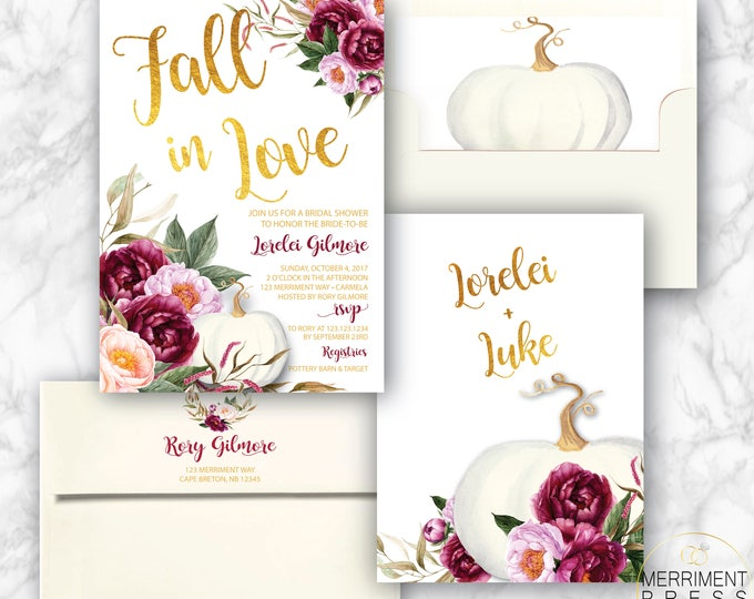 Featured listing image: Burgundy Pumpkin Bridal Shower Invitation // White Pumpkin // Fall Bridal Shower // Maroon // Fall in Love // CARMEL COLLECTION