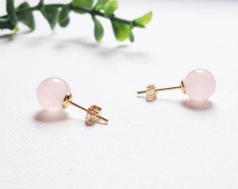 Rose Quartz Earrings Studs • Rose Gold Earrings Bridal • Earring Studs Gold • Bridesmaid Earrings Rose Gold • Stud Earrings Set • Crystals