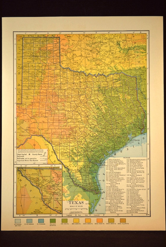 Texas Map Texas Topographic Map Colorful Colored Topo