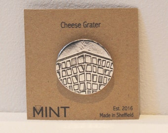Cheese Grater Pin Brooch - Sheffield Gifts - Car Park