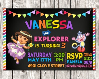 Dora Invitation - Dora the Explorer Birthday Party - Chalkboard Rainbow Invite
