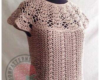 Bellissa Tucked Hem Top - Size S, M, L, XL, 2XL, 3XL - Crochet PDF Pattern