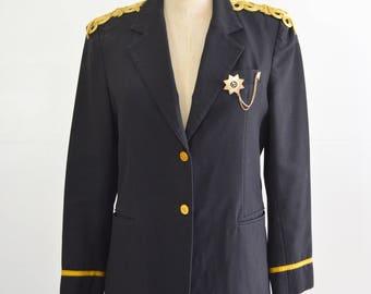 Vintage Dark Blue Reworked Murphy & Hartelius Airline Pilot Captains Uniform Jacket w Chinese frog Closure Epaulette Star Medal Chain