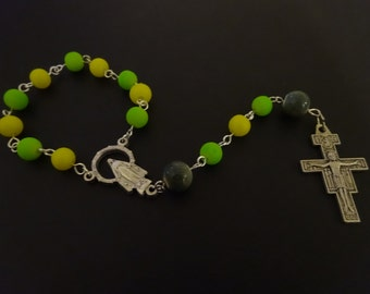 Neon Yellow and Green One Decade Rosary Chaplet with San Damiano Crucifix