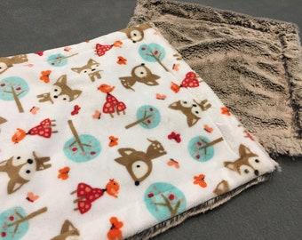 Deer Lovie Minky, cuddle lovie, security blanket, white, frost brown, baby boy, baby shower gift, forest theme, woodland