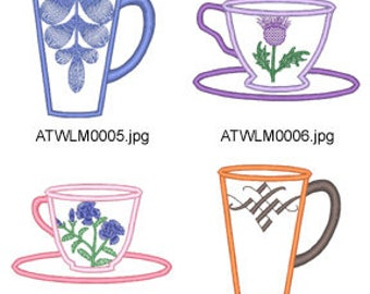 Applique-Tea-Cups ( 12 Machine Embroidery Designs from ATW ) XYZ17E