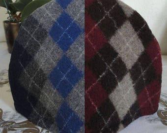 Red or Blue Tea Cozy, Argyle Wool