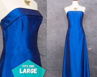 Vintage Prom Dress 80s Blue Dress Vintage Gown Formal Floor Length Party Evening Gown Strapless Jessica McClintock ~ Large