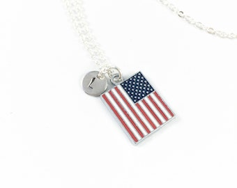 USA Necklace, Flag Necklace, American Flag Jewelry, Patriotic Gifts, Military Jewelry, Memorial Jewelry, Independence Day Fourth of July 4th