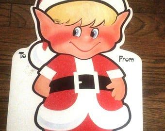 Giant Christmas Gift Tag Pixie Elf Die Cut Cardboard