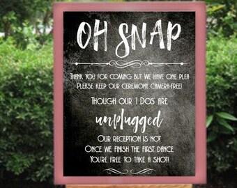 Unplugged wedding ceremony sign - chalkboard