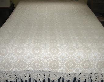 cream lace bedspread . hand crochet bedspread . cream crochet bedspread . shabby chic bedspread