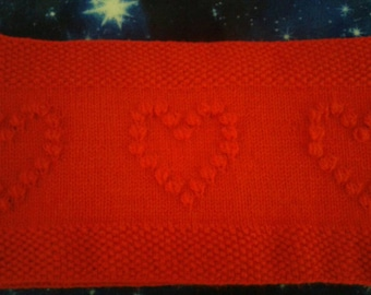 Snood, neckwarmer with hearts. Valentine's day gift