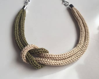 Military green Tricot necklace with sailor knot
