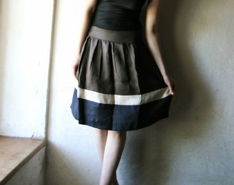 Linen Skirt, Knee length Pleated striped womens skirt