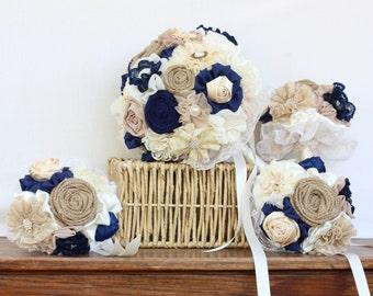 wedding bouquet, navy bridal bouquet, matching bridesmaids bouquets