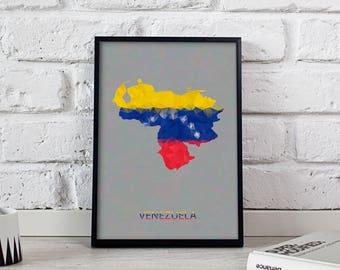 Venezuela poster Venezuela art Venezuela Map poster Venezuela wall art Venezuela wall decor Venezuela print Gift poster
