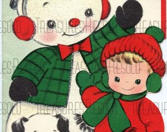 Boy & Puppy Dog With Snowman Christmas Card #306 Digital Download