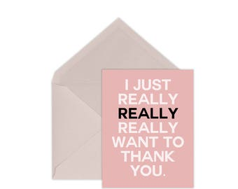 Thank You Card | Lots of Thanks | Pink Thank You Card | A2