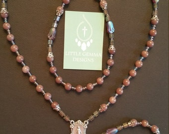HANDCRAFTED NATURAL AVENTURINE Gemstone Rosary- One of a Kind