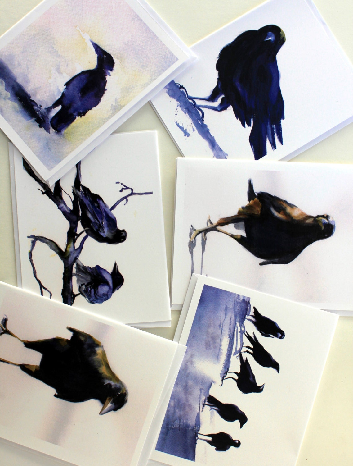 Crows 1 Note Cards Greeting Cards Bonnie White Assorted Card