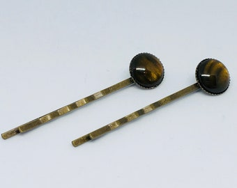 Amber Tiger Eye Stone Cabochon Hairpin Bobby Pins in Antique Gold Bronze Setting