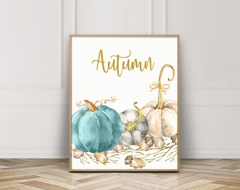 Blue Pumpkin Printable-Autumn Blue Pumpkin Print-Blue White Pumpkins-Fall Blue Pumpkin-Autumn Print-Fall Decor Printable-Instant Download