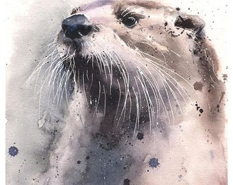 SEA OTTER PRINT - otter art print, watercolor otter painting, otter decor, otter wall art, sea otter gift, bathroom decor, otter artwork