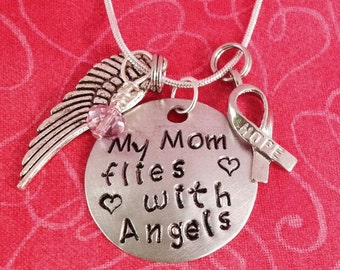 My Mom flies with angels necklace