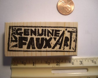 Genuine Faux Art  rubber stamp wood mounted scrapbooking rubber stamping