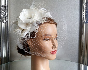 Wedding Head Piece with Flower, Feathers and Crystal Rhinestones french net, white,ivory or champagne