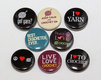 Crochet Pinback Buttons Set of 8 - Badges 1 inch