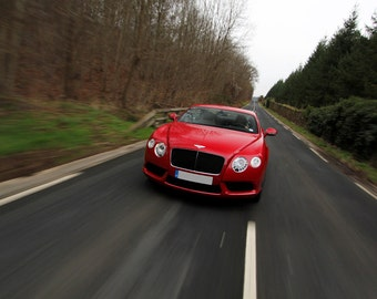 Poster of Bentley Continental GT Front Motion Red HD Print