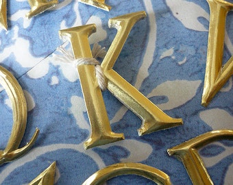 """10 Gold Dresden Letters ~ K (1 1/2"""" tall)"""