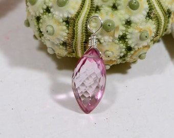 Pink Topaz AAA  Wire Wrapped Briolette Add Dangle Gemstone Briolette Wire Wrapped Pendant