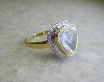 Polki Diamond Slice Ring, 14K Solid Yellow Gold Wedding Ring