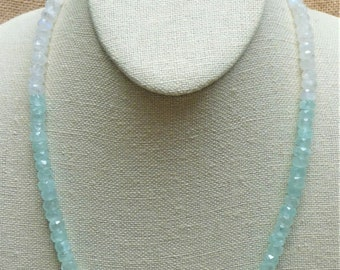 Natural Aquamarine and Moonstone Faceted Rondelle Necklace - a Perfect Summer Necklace