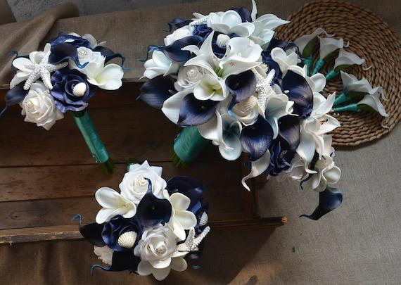 Navy White Beach Blumensträuße Real Touch Blumen Plumerias