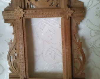 Hand Carved Wood Picture Frames--2--Tramp Art Openwork Folk Art Baroque Vintage