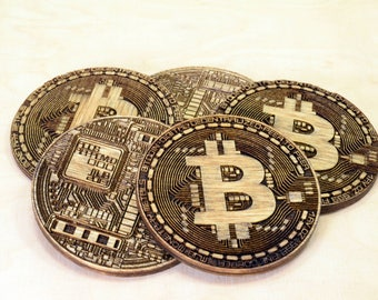 Bitcoin BTC Physical Coin - Crypto Currency Token - Collectible - Corporative Gift - Wooden Coin - Double Side Engraved